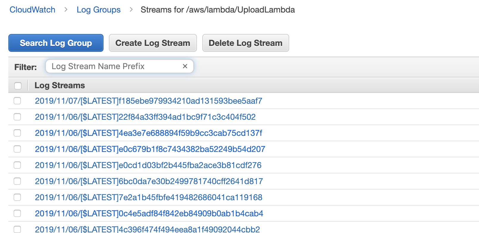 Lambda Log Streams