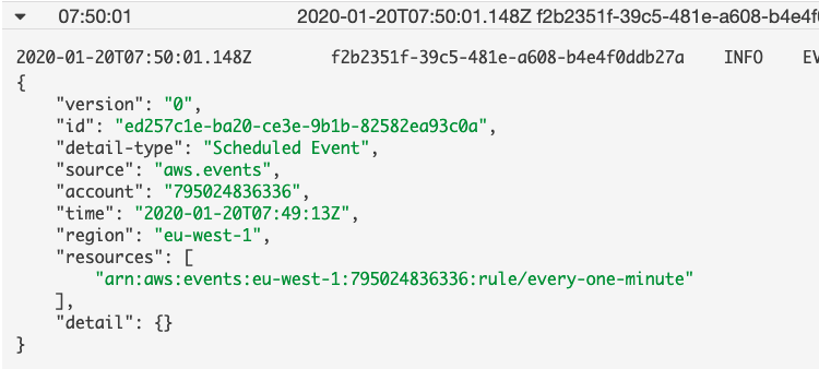 CloudWatch Scheduled Event Log