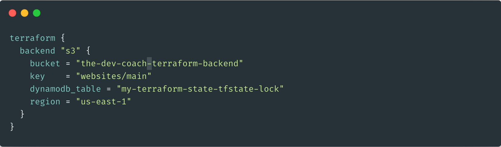 Example Terraform Backend Config (With State Locking)