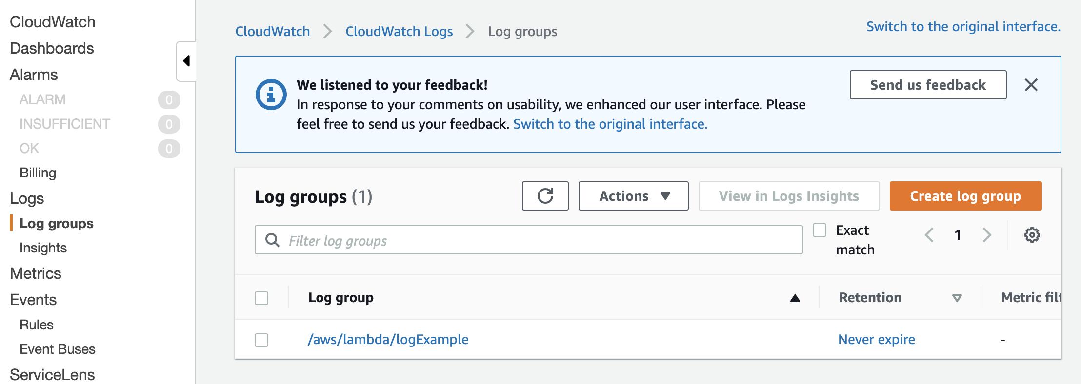 Log Groups CloudWatch