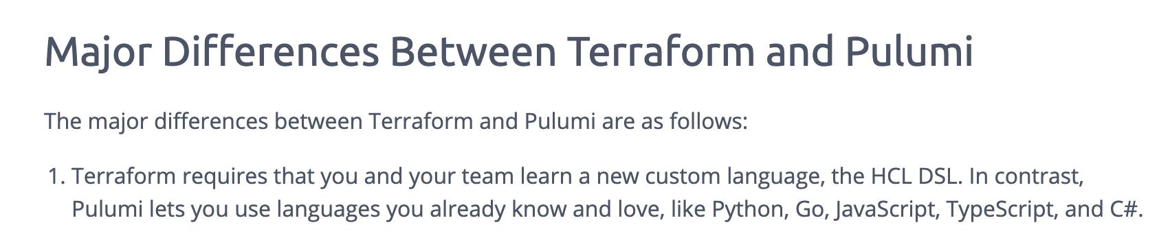 Terraform vs Pulumi