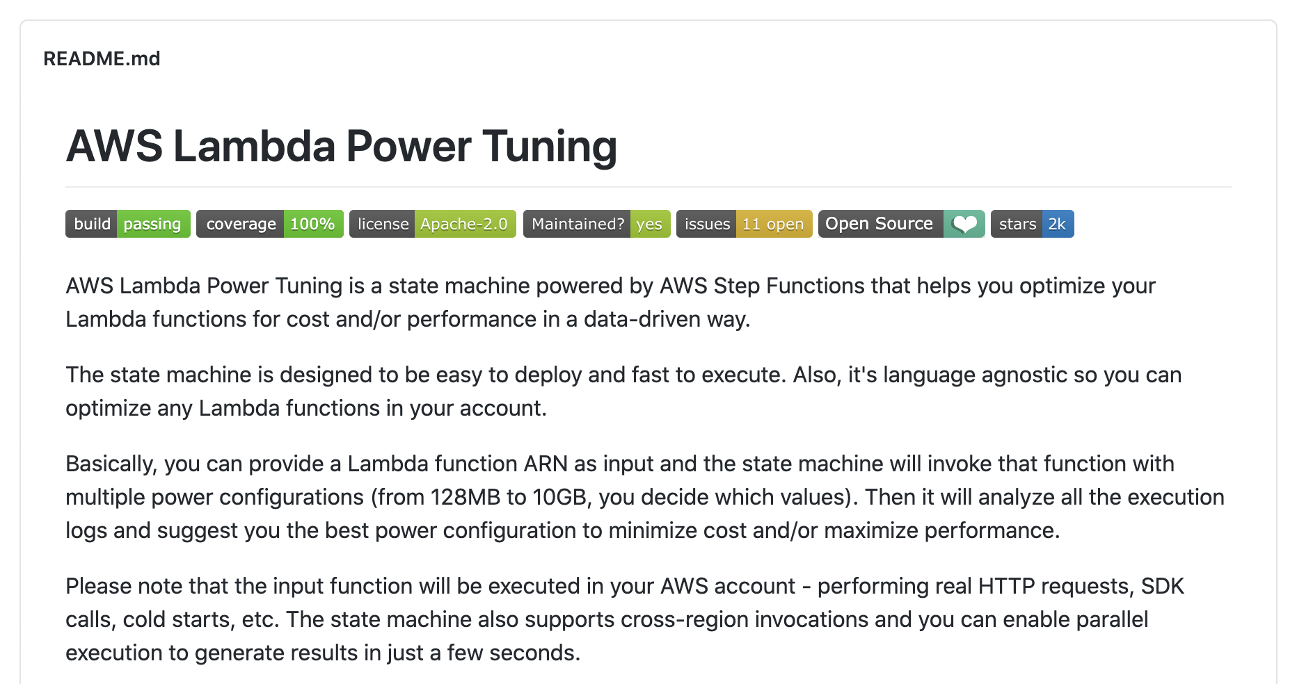 AWS Lambda Power Tuning
