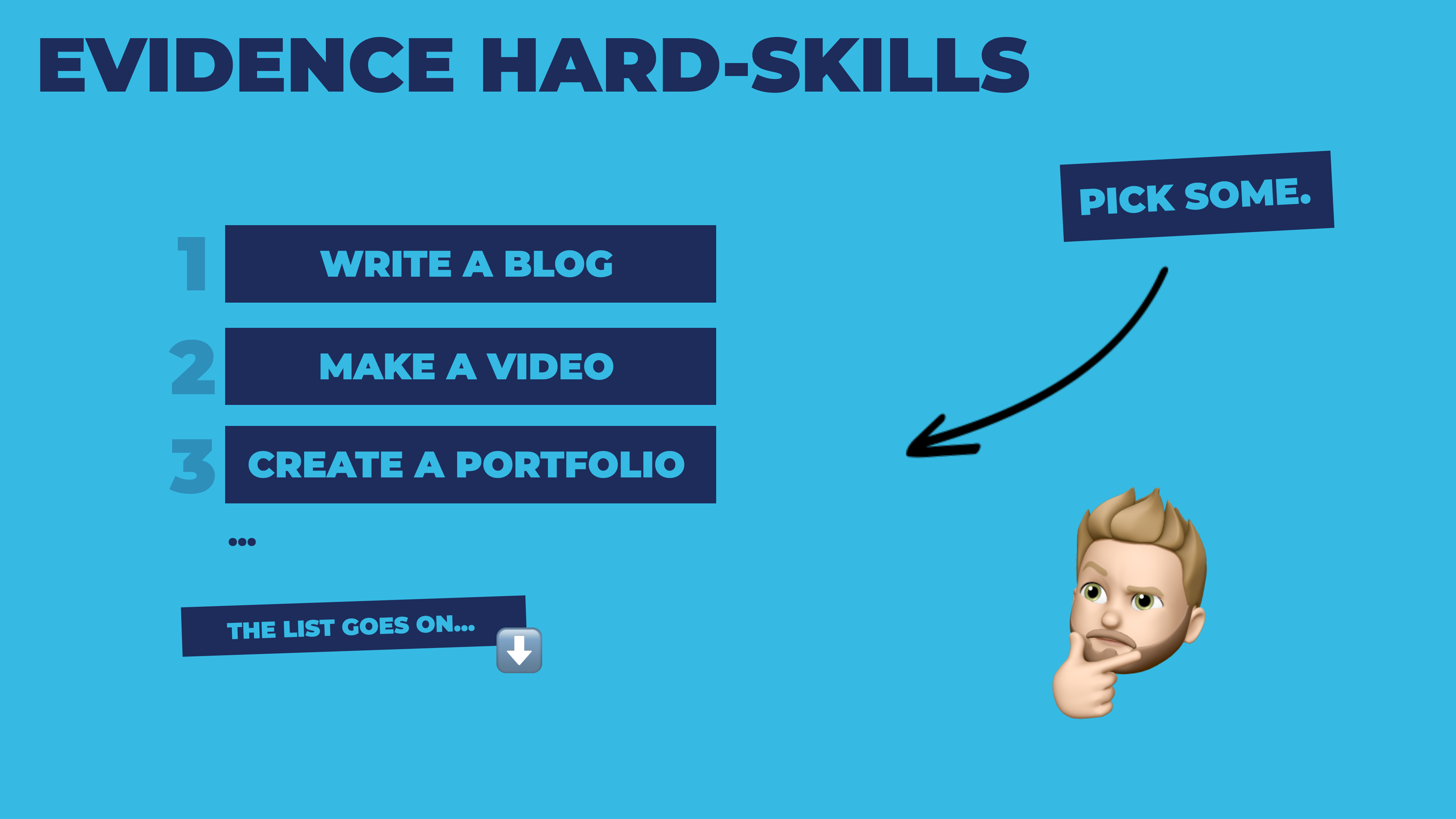 Evidence hard skills, such as writing a blog, making a video, or creating a portfolio